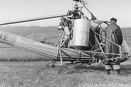 1953 - The Hiller 360 HB-XAB of Air Import equipped with the spray kit (HAB)