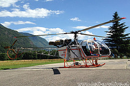 Lodrino/TI, July 2016 - The SA 315B Lama HB-ZVV in service with Heli-TV (O. Colombi)
