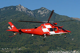 Locarno airport/TI, September 2010 - The Agusta-Westland 109SP Da Vinci HB-ZRU is next to land (M. Bazzani)