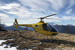 Alp Mognone/TI, February 2020 - The Guimbal Cabri G2 HB-ZYB in service with Heli-Rezia (M. Bazzani)