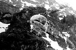 Swiss alps, early 1970s - The SA 315B Lama HB-XEN in service with Heliswiss (HAB)