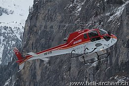 Lauberhorn ski race 2014 - The AS 350B2 Ecureui HB-XVB in service with Air Glaciers (O. Colombi)