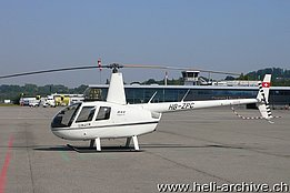 Belp/BE, July 2012 - The Robinson R-44 Clipper II HB-ZPC in service with Helipool Europe GmbH (H. Zurcher)
