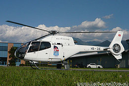 Locarno airport/TI, July 2011 - The EC 120B Colibrì HB-ZIE of the Eliticino with the sticker of the International horse jumping competition of Ascona (M. Bazzani)