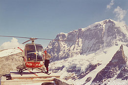 Glarus Alps, 1970s - The Hughes 269C HB-XEH in service with Linth Helikopter (family Kolesnik)