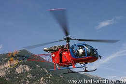Valle Maggia/TI, September 2006 - The SA 315B Lama HB-XRD in service with Heli-TV (O. Colombi)
