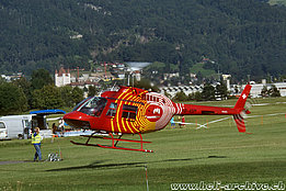 Thun/BE, August 2009 - The Agusta-Bell 206B Jet Ranger III HB-XSM in service with Mountanin Flyers 80 Ltd. (B. Siegfried)