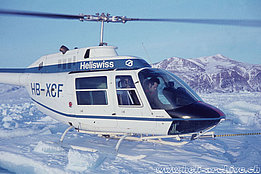 Greenland, autumn 1971 - Paul Schmid along with the HB-XCF, one of the first Bell 206A Jet Ranger purchased by Heliswiss (family Schmid)