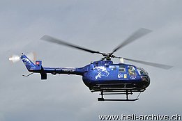 Birrfeld, August 2012 - The MBB BO-105S HB-ZJF in service with Skymedia AG (T. Schmid)