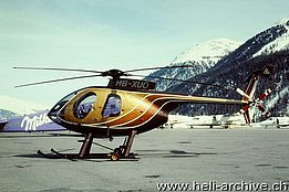 Samedan/GR, March 1999 - The MDD MD 500E HB-XUO in service with Alpin Verwaltungs (M. Bazzani)