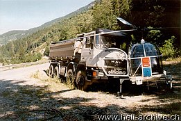 Osco-Polmengo/TI, Autumn 1996 - Incredible collision between a truck and the SA 315B Lama HB-XGG in service with Eliticino (HAB)