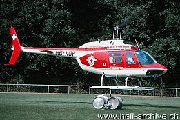 Mid 1970s - The Agusta-Bell 206B Jet Ranger II HB-XDP of the SARG temporarily in service with Heliswiss (A. Heumann)