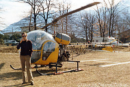 1975 - Andrea Snider (who was one of the first Ticinese commercial helicopter pilots) in front of the Eliticino's Westland/Agusta-Bell 47G-3B-1 HB-XFA (HAB)