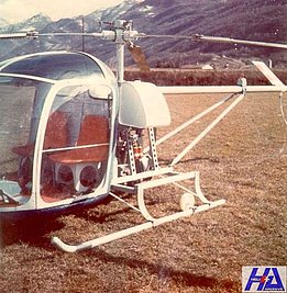 Airport of Locarno, early '70s - The helicopter Berger BX-110 HB-YAK fitted with a skid landing gear (HAB)