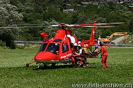 Valle Maggia/TI, July 2010 - The AW 109SP Da Vinci HB-ZRU in service with Rega photographed during a rescue mission (photo O. Colombi)