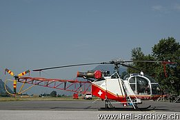 Sion/VS, July 2010 - The SA 315B Lama HB-XXJ in service with Air Glaciers fitted with the spray kit (M. Bazzani)