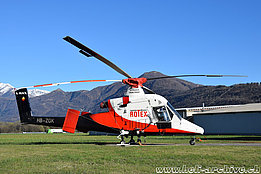 Locarno airport/TI, April 2015 - The Kaman K-1200 K-Max HB-ZGK in service with Rotex Helicopter AG (M. Bazzani)