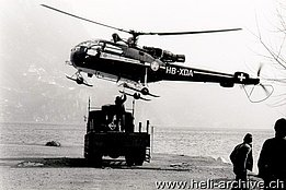 Lugano-Cassarate/TI, early '70s - The SE 3160 Alouette III HB-XDA at work in Ticino piloted by Sigi Stangier (HAB)