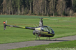 Beromünster/LU, April 2017 - The Robinson R-22 Beta HB-ZNE in service with Airport Helicopter AG (T. Schmid)