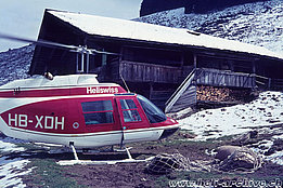 Swiss alps, early '70s - The Bell 206A/B Jet Ranger II HB-XDH in service with Heliswiss (HAB)