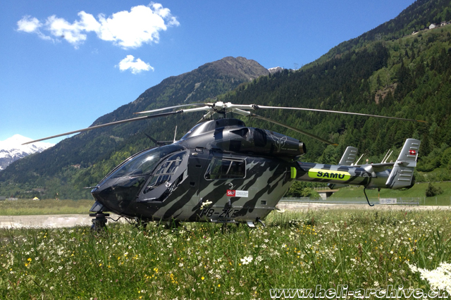 June 2013 - The MDD 902 Explorer HB-ZKE fitted with the Cineflex camera photographed at the aerodrome of Ambrì (M. Ceresa)