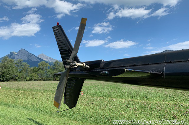 The tail boom with the horizontal and vertical stabilizers and the tail rotor (HAB)
