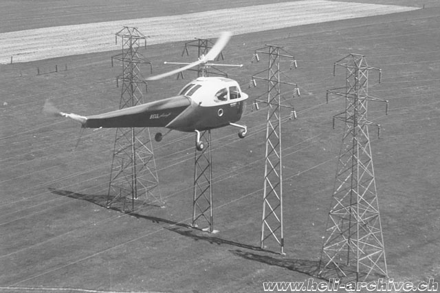 The Bell 47B NX41967 employed experimentally for a power line patrol (Bell Helicopter)