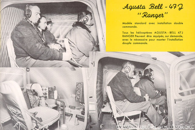 The picture from an old brochure shows the dual controls kit installed in an Agusta-Bell 47J Ranger (HAB)