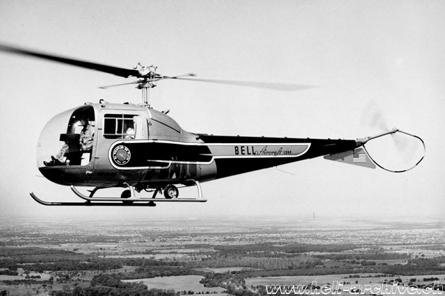 The Bell 47J Ranger N2464B was used in autumn 1956 for the tour in Central and South America (Bell Helicopter)