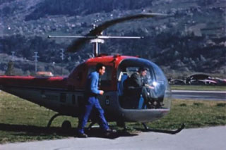 Sion/VS, March 31, 1957 - Hermann Geiger at the controls of the brand new Bell 47J Ranger HB-XAU (Roland Muller, Médiathèque Valais - Martigny)