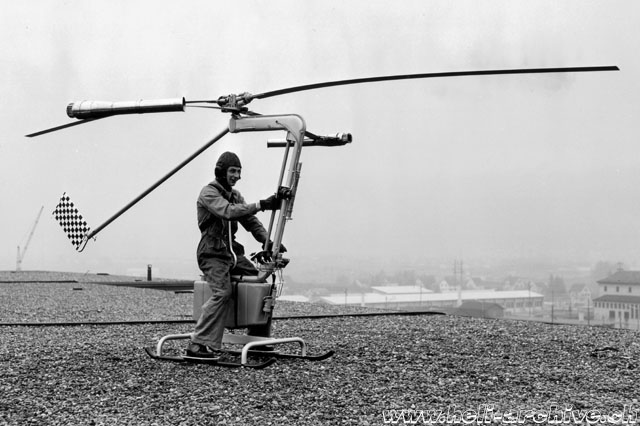 This picture shows the small size of the experimental helicopter Contraves (Heli-Archiv Wernli)