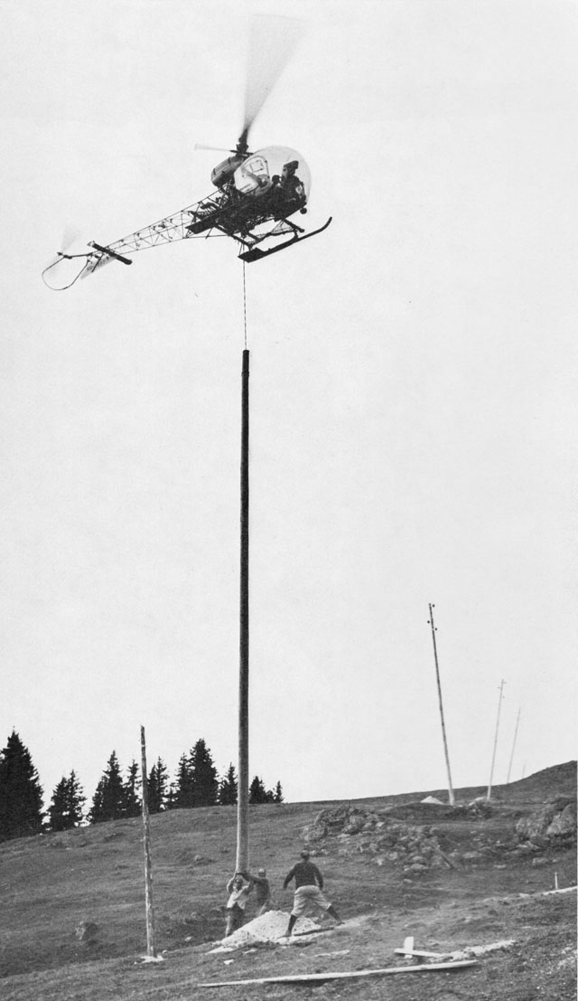 Picture 1 - The Bell 47G3B-1 HB-XBT in service with Heliswiss set in position the pole of a new electrical power line (HAB)