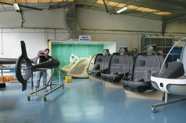 The helicopters are manufactured in the workshop situated at Aix-les-Milles (Hélicoptères Guimbal)