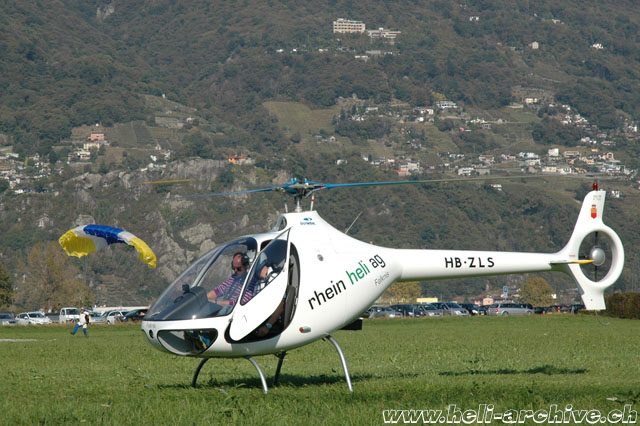 Locarno airport/TI, October 2011 - The Guimbal Cabri G2 HB-ZLS in service with Rhein-Helikopter (M. Bazzani)