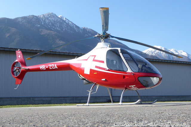 Locarno airport/TI, March 2018 - The Guimbal Cabri G2 HB-ZOA in service with Swiss Helicopter (M. Bazzani)