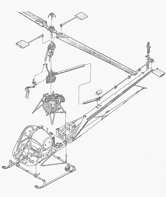 The exploded view of a Hiller UH-12B (HAB)