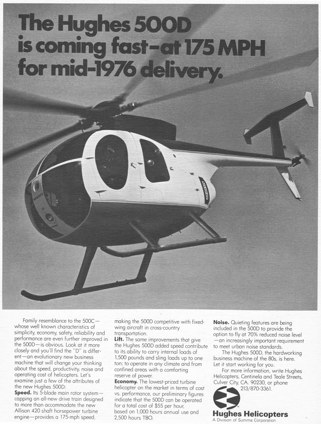 The Hughes 500D in one of the first advertisements appeared in the aeronautical magazines at the beginning of 1976 (HAB)