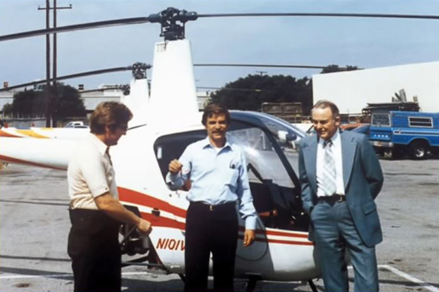 October 1979 - Tim Tucker (centre) president of Pacific Wing & Rotor Inc. receives the keys of the Robinson 22 N101WR s/n 3 (RHC)