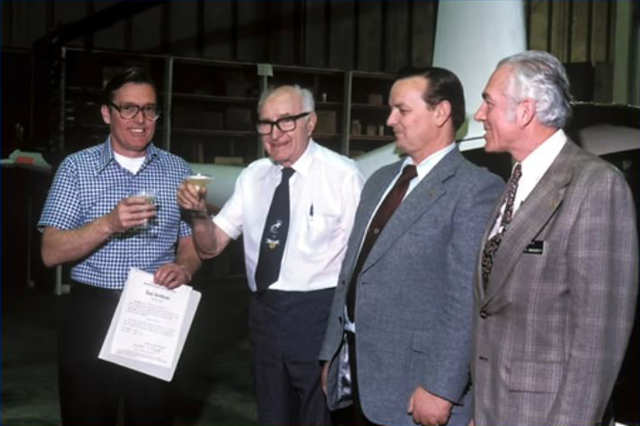 "March 1979 - Frank Robinson and C. K. ""Gus"" LeFiell celebrate the obtention of the type certificate. With them two delegates of the FAA (RHC)"