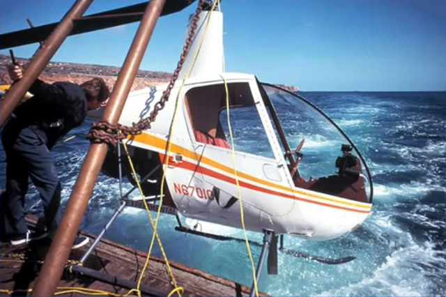 1977 - The prototype of the Robinson 22 N67010 is retrieved from the Pacific ocean (RHC)