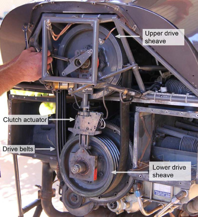 This picture shows the two pulleys and the clutch actuator (in a R-22 Beta)