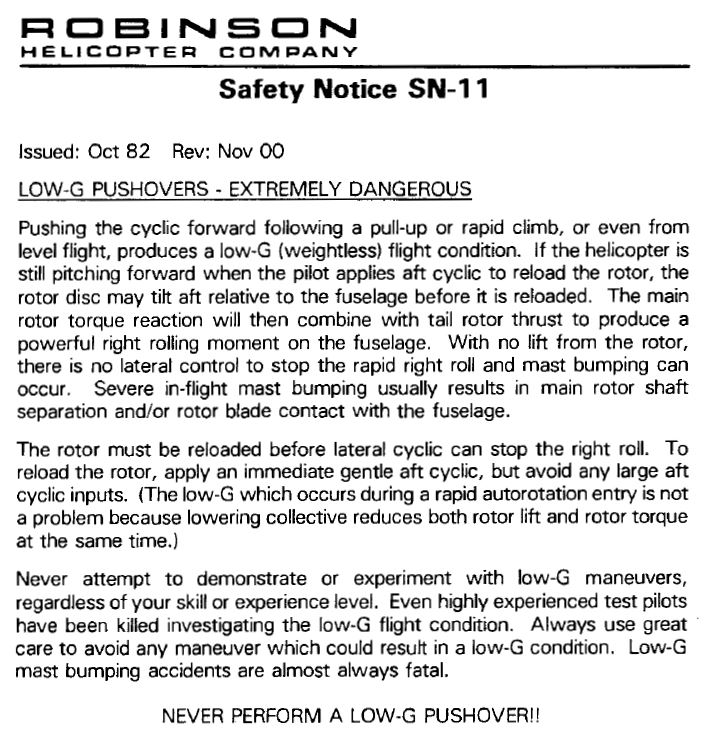 "Extract from the flight manual of a R22 that warns pilots about the risks of ""low-g"" maneuvres"