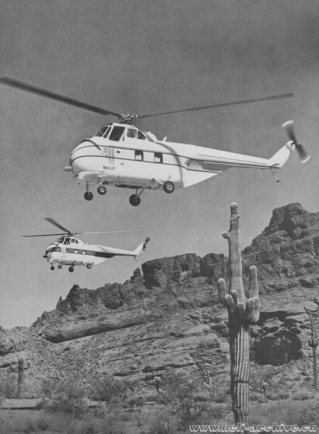 The Helitech-Sikorsky S-55T N824T photographed along with another S-55T in the desert of Arizona (HAB)