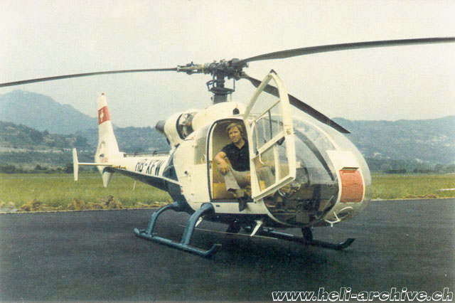 1976 - Erwin Schafrath along with the SA 341G Gazelle HB-XFW purchased by newly founded Air Grischa (HAB)
