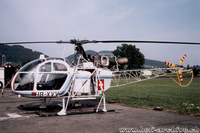 Belp/BE, September 1990 - The SA 315B Lama HB-XVV in service with Heliswiss (archive E. Krebs)