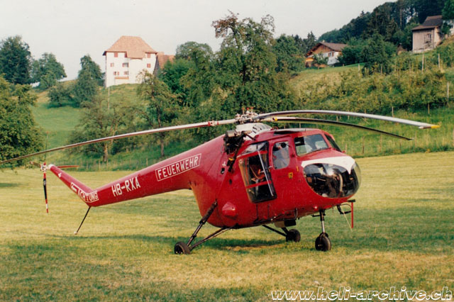 "The Bristol 171 Mk. 52 HB-RXA with ""Feuerwehr"" colors, photographed in Switzerland (archive D. Hasebrink)"
