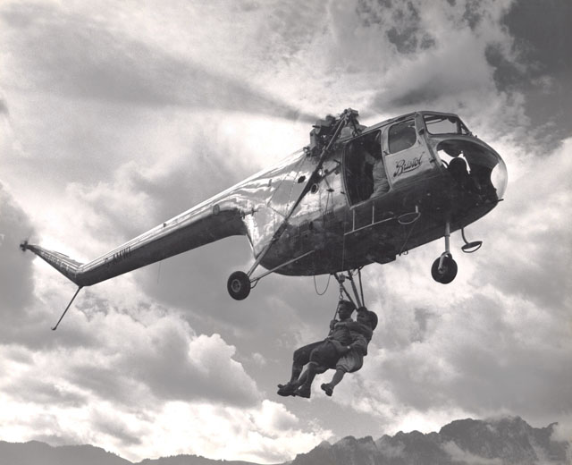 Gantrisch region/BE, September 1953 - The Bristol 171 G-AMWI made a series of simulated SAR flights using the winch (Bristol Aero Collection Trust)