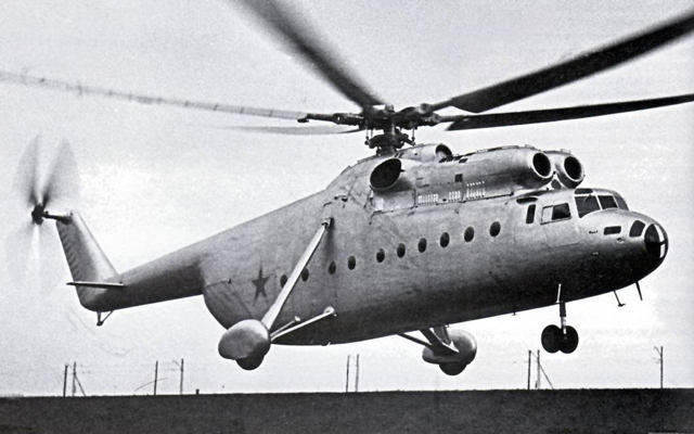 1957 - The first prototype of the Mil Mi-6 in flight. To note the original mainwheel spats (archive Mil)