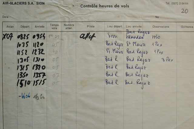 The last flights recorded in the log book the day of the accident (SFA)