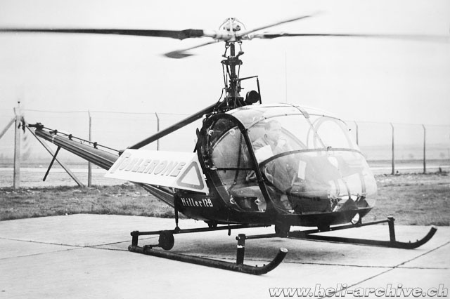 "At the controls of the Hiller UH-12B HB-XAC used to advertise the chocolate ""Toblerone"" (HAB)"
